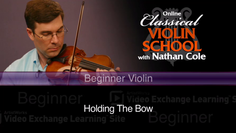beginner violin lessons - holding the bow