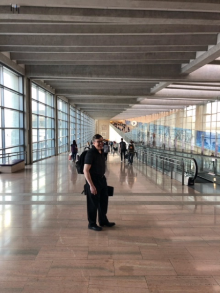 Dave Bilger in Airport on European Tour with the Philadelphia Orchestra